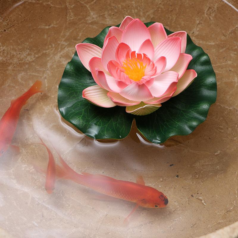 新品假花瓣荷花 水池装饰睡莲 仿真植物永生花仿真花